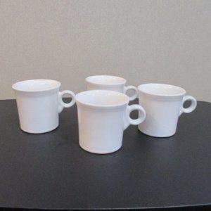 4 Vintage White Fiestaware Coffee Mugs